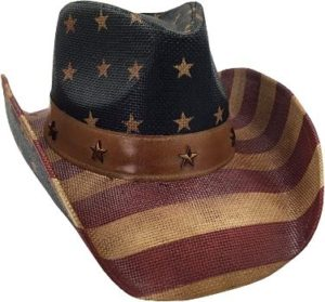 #6 Men's USA American Flag Hat Vintage Tea Stained