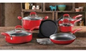 #6. The Pioneer Woman Vintage Speckle 10-Piece Cookware