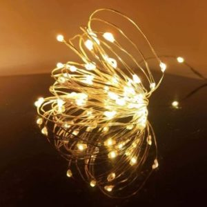 #6.LED Fairy String Lights, 20 Micro Lights, Silver Copper Wire
