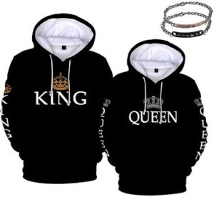 #7 Forlove365 King Queen Hoodies Couple Matching Sweatshirts