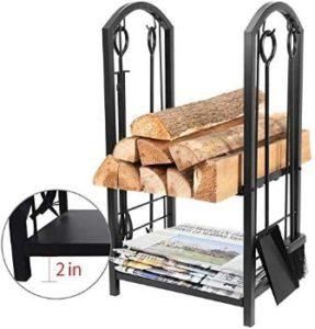 #7. Amagabeli Fireplace Log Storage Rack