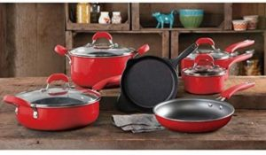 #8. The Pioneer Woman Vintage Speckle 10-piece Cookware Set