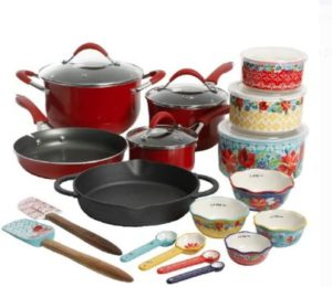 #9. The Pioneer Woman Speckled 24-piece Cookware [red]