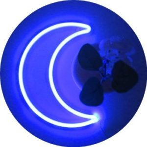 #10 LED Blue Moon Neon Light, Decor Battery