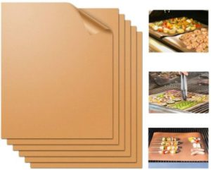 7. Miaowoof Copper Grill Mat, Set of 6