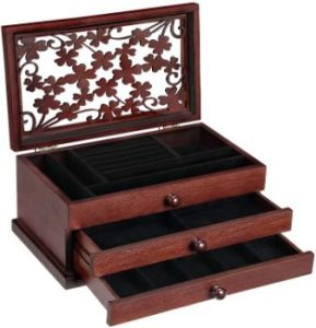 9. SONGMICS Wooden Jewelry Box with Floral Carving