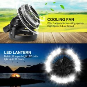 #1. Odoland Portable LED Camping Lantern with Ceiling Fan