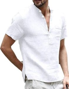 2. Enjoybuy Mens Linen Henley Shirts