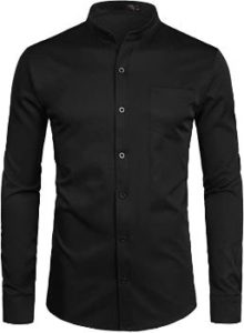 6. ZEROYAA Men's Banded Collar Slim Fit Shirts