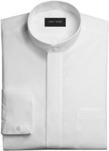 9. Neil Allyn Men's White Banded Collar Dress Shirt