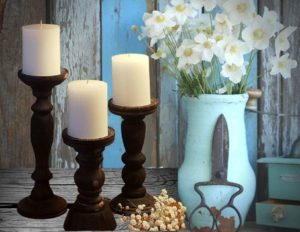 1. Farmhouse Wooden Candle Holders (Set of 3)