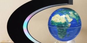 7. Floating Globe with Colored LED Lights (Blue)
