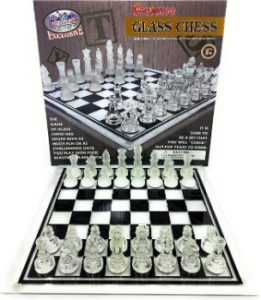 9. Matty's Toy Stop Deluxe Frosted & Clear Glass Chess Set