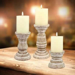 9. Stonebriar Antique Wooden Pillar Candle Holder (White)